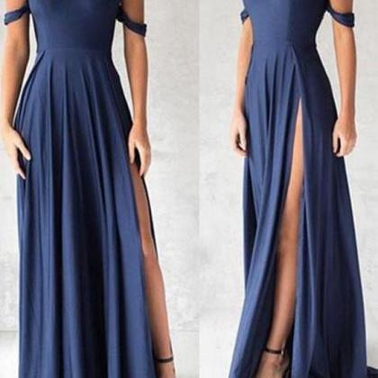 Navy Blue Shoulder Long Prom Dress,..