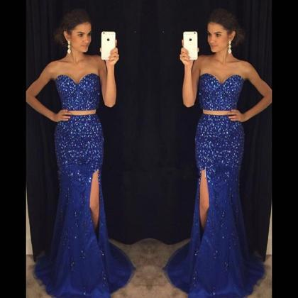 Romantic Royal Blue Two Piece Prom ..