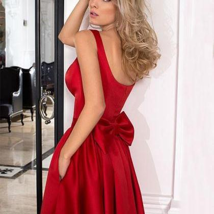 Cute Red Satin A Line Mini Prom Dre..