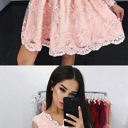 Beautiful Pink V Neck Lace Short Pr..