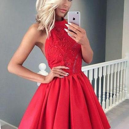 Red Short Prom Dress, Homecoming Dr..