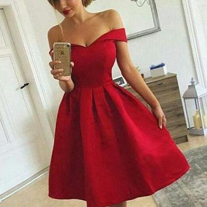 Cute A Line Off Shoulder Shrot Prom..