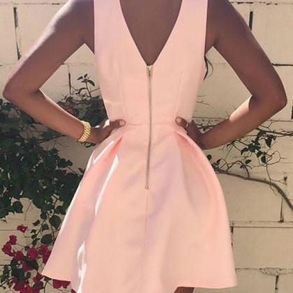 Simple Pink V Neck Short Prom Dress..