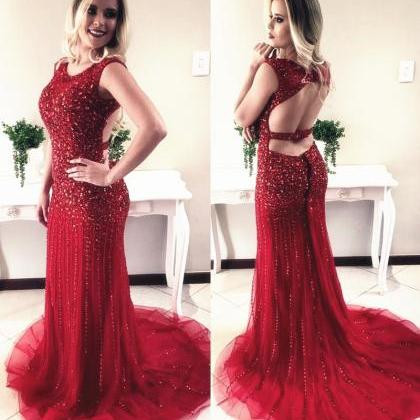Charming Red Prom Dress, Sexy Cryst..