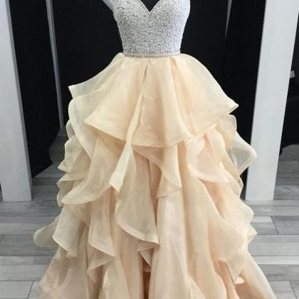 champagne tulle beaded A-line long ..