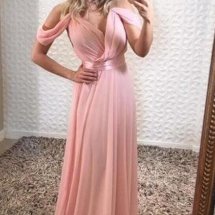 Off Shoulder Pink Chiffon Prom Dres..