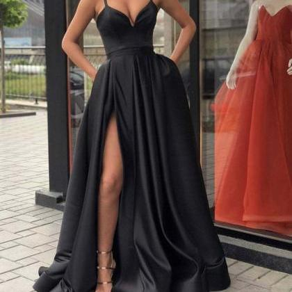 Black Evening Dresses Satin Long ,S..