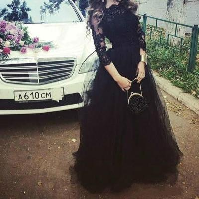 2016 Elie Saab Evening Dresses With 3/4 Long Sleeves Black Lace Tulle Appliqued Celebrity Formal Dress Long Custom Cheap Prom Gowns