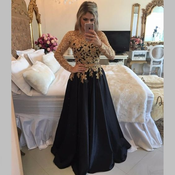 Back Long Party Dresses, Long Sleeve Black Prom Dresses With Gold Sequins, A Line Black Satin Pageant Prom Dresses