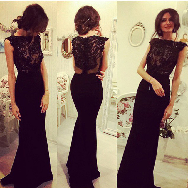 a4fcee8943f55 Elegant Beaded Evening Dresses,Lace Appliques Prom Dress,Mermaid Black Prom  Dresses ,2017 Long Floor Length Chiffon Women Party Dress