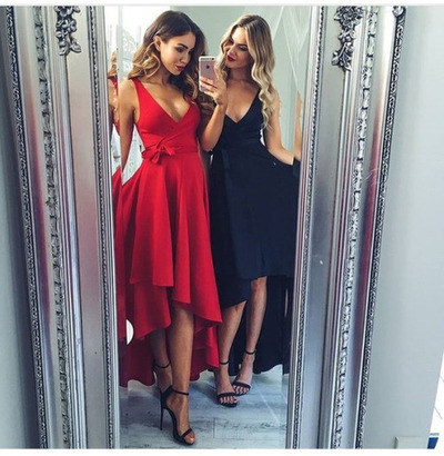 Fashionable Red Prom Dresses, Party Dress ,Cheap Evening Dresses,Formal Gown,Satin Prom Gown,Prom Dress, V-neck Prom Dress