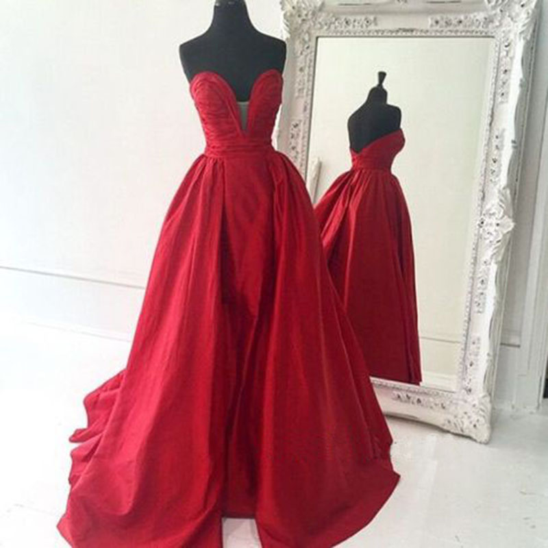 2017 Deep V Neck Prom Dresses,Long Elegant Prom Gowns,Sexy Sweetheart Red Evening Dresses ,Party Dress Robe De Soiree