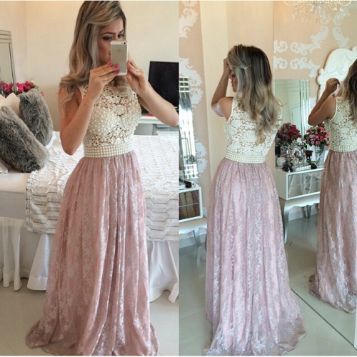 Charming Prom Dresses,Evening Dress,Party Dresses,Prom Dresses,Pink Evening Gowns,Lace Formal Dresses,Prom Dresses ,2017 Fashion Evening Gown,Beautiful Evening Dress,Pink Formal Dress,Lace Prom Gowns