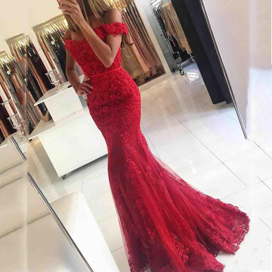 2018 Prom Dresses,Off Shoulder Red Lace Evening Dress,Mermaid Prom Dresses, Long Sexy Party Prom Dress, Custom Long Prom Dresses, Cheap Formal Prom Dresses,