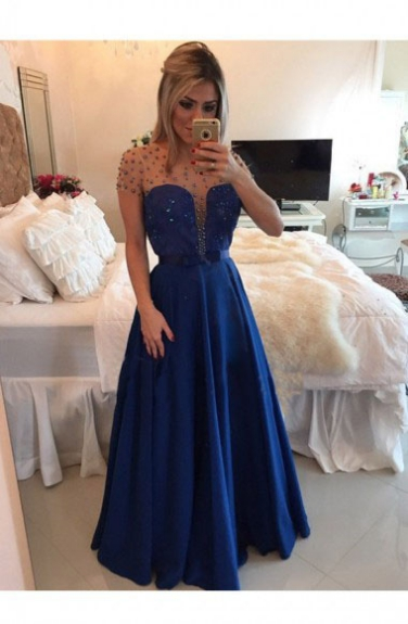 Sexy Tulle Prom Dresses,Royal Blue Prom Dress,Modest Prom Gown,Chiffon Prom Gowns,Beading Evening Dress,Princess Evening Gowns,Sparkly Party Gowns,Backless Prom Gowns,Open Back Evening Dress