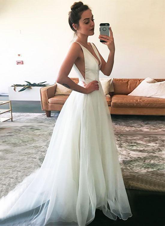 6dd8cea0ba88 White V Neck Tulle Long Prom Dress, White Evening Dress,Long Formal Gowns,Prom  Dresses