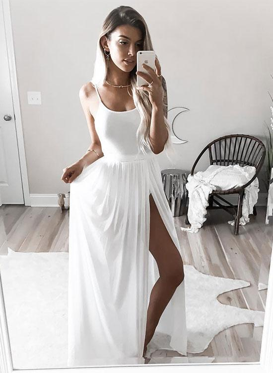 Simple White Long Prom Dress, White Evening Dress,Long Formal Gowns ...