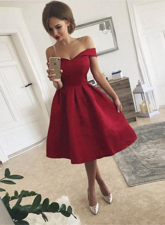 Cute A Line Off Shoulder Shrot Prom Dress, Homecoming Dress,Party Dress,Graduation Dress,A-Line Prom Dresses,Cheap Prom Dress