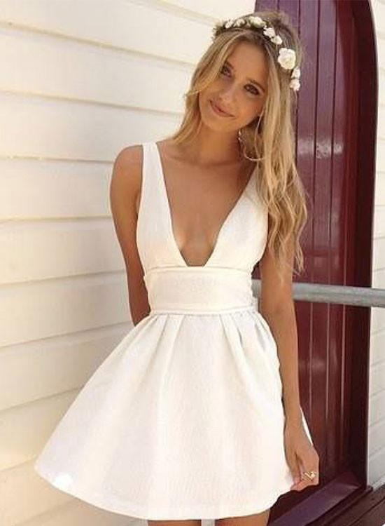 40e5159c4ce8 White V Neck Mini Dress