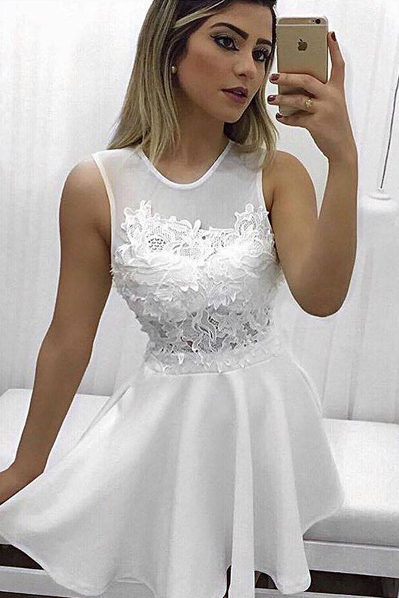 Chic Homecoming Dresses,A-Line Homecoming Dress,Jewel Prom Dresses,Sleeveless Prom Gown,White Homecoming Dresses,Short Homecoming Dress With Lace