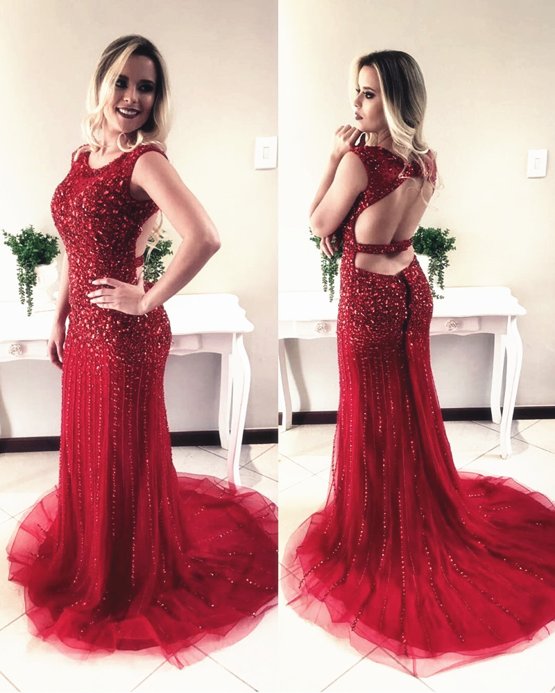 Charming Red Prom Dress, Sexy Crystal Beading Mermaid Prom Dress, Long Evening Dress, Formal Dress