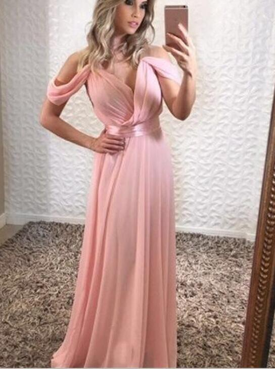 Off Shoulder Pink Chiffon Prom Dresses, Sexy Evening Party Dresses, Formal Dresses