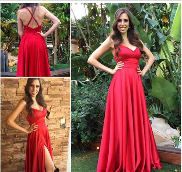 Sleeveless Prom Dress with Slit, Sexy Evening Dress, Long Prom Dresses