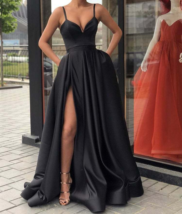 Black Evening Dresses Satin Long ,Split Evening Dresses A-Line 2019 Prom Dress