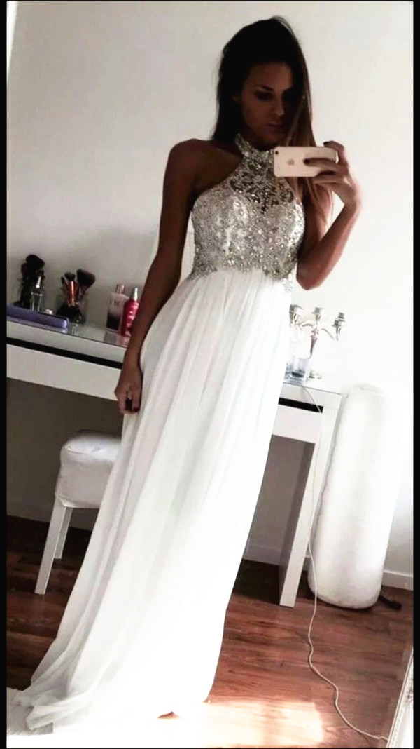 New Design Beading Prom Dresses, The Charming White Evening Dresses, Prom Dresses, Real Made Prom Dresses On Sale