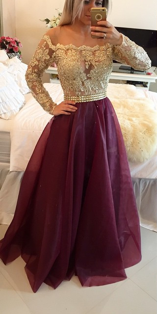 db9d611db81a Long Sleeves Prom Dresses Gold Illusion Lace Beaded Burgundy A-line  Gorgeous Evening Gowns