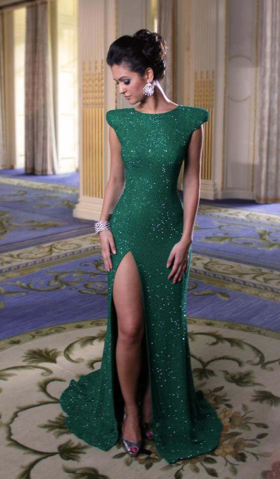 Cap Sleeves High Slit Emerald Green Sequined Mermaid Evening Dresses