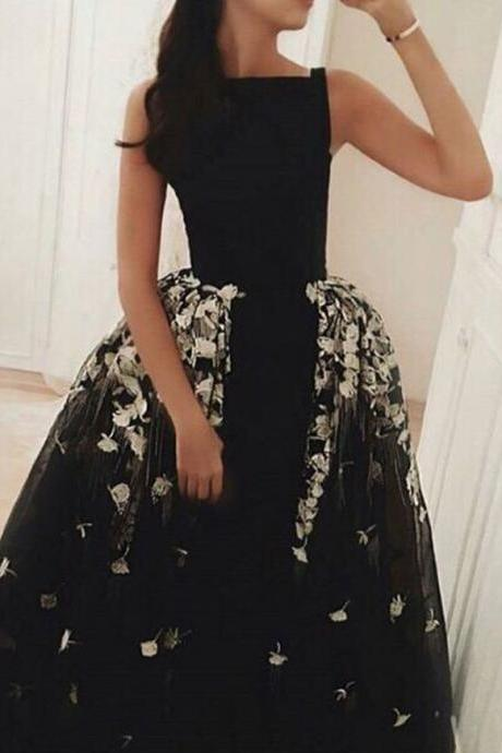 2017 Unique Evening Dress Evening Gowns,Black and White Evening Gowns,Boat Neck Evening Gowns,Long Evening Gowns,Ball Gown Evening Dress,