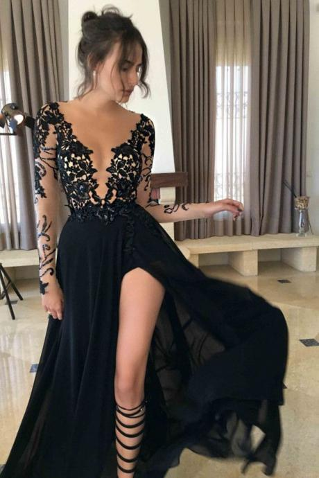 Long prom dress, black prom dress, long sleeves prom dress, deep v neck prom dress, sexy prom dress, evening dress