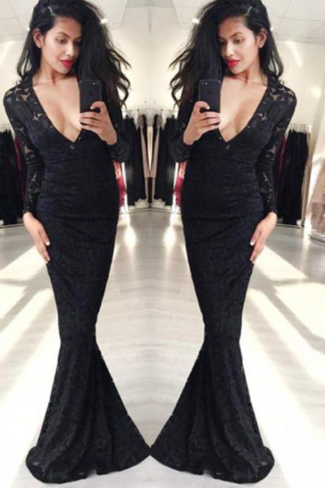 Trumpet/Mermaid Prom Dress,Black V-neck Floor-length Tulle Custom Evening Dress