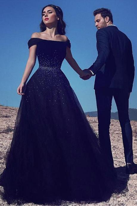 Off The Shoulder Black Beaded Prom Dress Long Evening Gowns 2017 Formal Dress