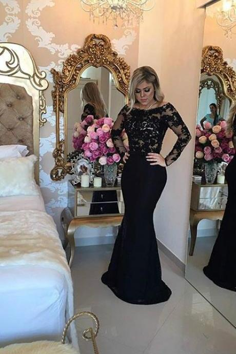 Sexy Prom dresses Cheap Mermaid Black Long Sleeves Prom Evening Dress with Appliques