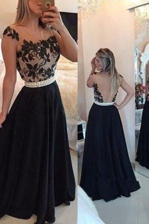 Elegant Black Prom Gown ,Handmade Graduation Dress,Chiffon Long Prom Dress ,with Lace Applique, Black Prom Dresses ,2017 Black Evening Gowns