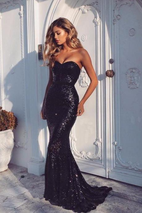 Beautiful Black Sequined Prom Gown,Sweep-Train Prom Dresses ,Sexy Sheath-Column Evening Dress,Sweetheart Party Gowns,Mermaid Long Prom Dresses