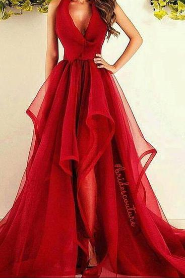 New Fashions Long Prom Dress, Red Evening Dress ,Organza Prom Dresses ,Sexy Formal Evening Gowns,V-neck Formal Gown,Prom Gown