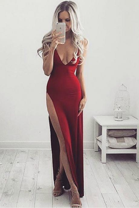 Eye-catching Formal Gown, Cheap Prom Dresses 2017 Wine Red Evening Dress,Sexy Slit Prom Dress,Sheath Party Dress,Open Back Wine Red Graduation Dress,Prom Gown,Party Dress