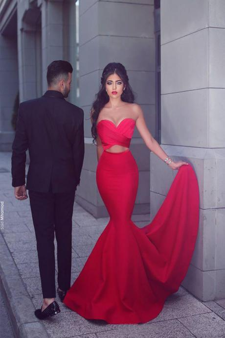 Sexy Prom Dress, Red Mermaid Prom Dress,Evening Dresses,Backless Prom Dress,Red Prom Dress,Party Dress ,Sweetheart Evening Dresses,Cheap Formal Gown,Prom Gown,