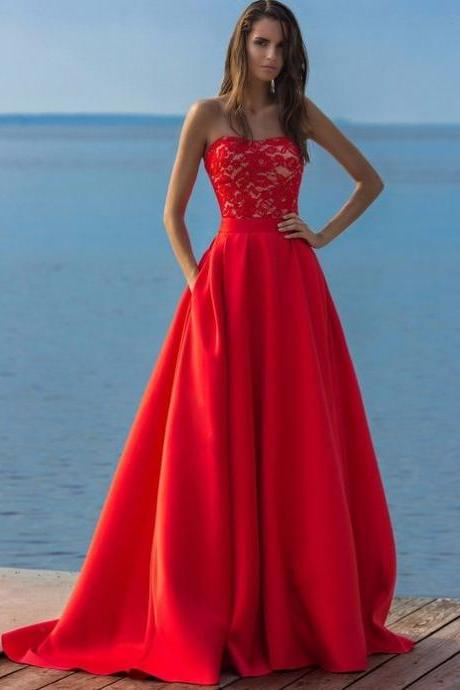 Simple A line Prom Gown ,Red Prom Dresses With Lace,Evening Gowns,Formal Dresses,Red Prom Dresses,Satin Formal Gown,Cheap Evening Dress