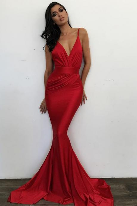 Eleg Glamour V-neck Prom Dress,Simple Long Prom Dress, Red Evening Dress ,Red Formal Dresses,V-neck Red Graduation Dress,Red Party Dress,A-line Evening Dress,Red V-neck Formal Dresses,Satin ,Formal Dresses