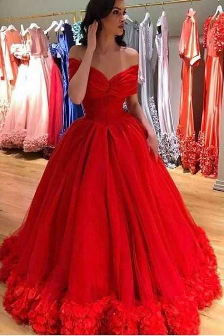 Charming New Red Long Prom Dresses, Evening Dresses, Birthday Dresses,Party Dresses,Quinceanera Dresses Tulle Evening Dresses