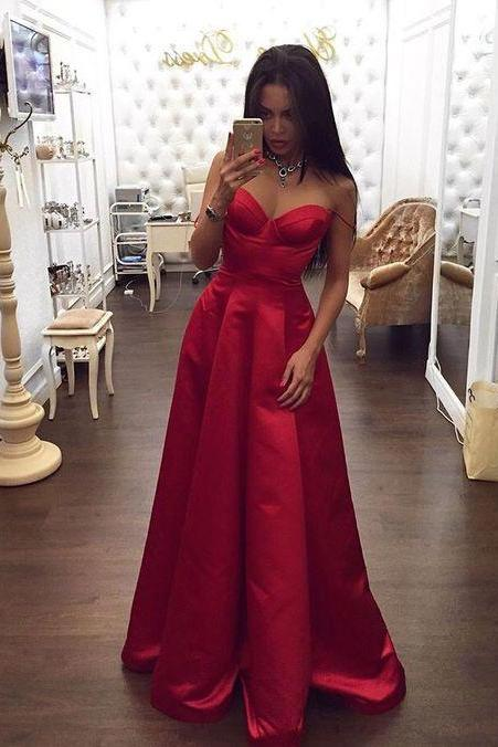 Glamorous Satin Evening Dresses,Sexy Spaghetti Straps Red Prom Dress,Sweetheart Red Evening Dress,Sweetheart Long Prom Dresses,Floor Length Prom Gown