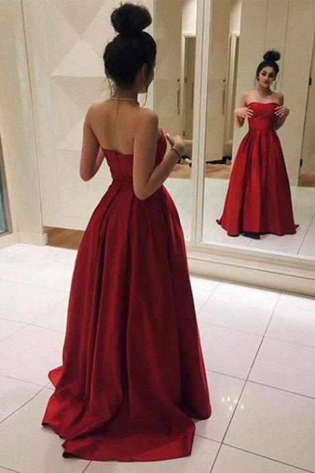 Glam A-Line Prom Dresses, Red Long Prom Dresses, Elegant Red Satin Prom Dress, Ball Gown, Simple Prom Dress,Long Prom Dresses, Graduation Dress