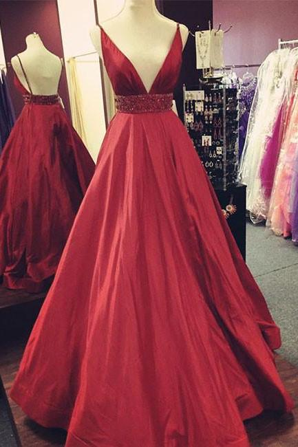 Taffeta Prom Dresses,Cheap prom dresses 2018,Red V-Neck Satin Prom Dress,Long Evening Dress with Waist Beaded,Red Evening Dresses