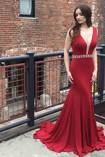 Mermaid Long Prom Dress,Red Prom Dress ,with Deep V Back Formal Evening Dress,Cheap Evening Dresses,,Formal Gown,Prom Gown,Rhinestone