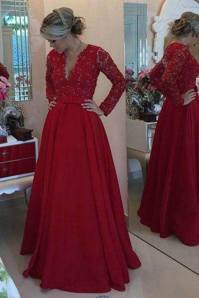 V-neck Evening Dresses,A line Long Sleeves Prom Dress,Red Lace Evening Dress,Long Sleeves Red Lace Graduation Dress