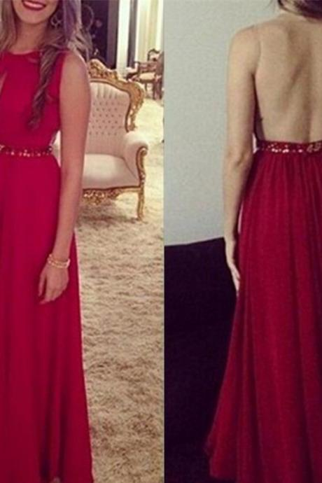 Chiffon Party Dress ,Sexy Red Handmade Long Chiffon Beaded See Through Prom Dresses, Prom Gowns 2018, Red Evening Dresses,Rhinestone Prom Dresses